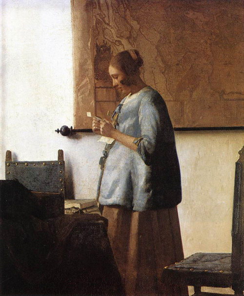 Vermeer, Woman in Blue Reading a Letter 1663f
